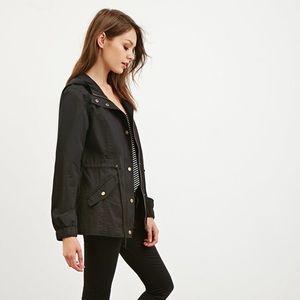 Forever21 | black hooded drawstring utility jacket